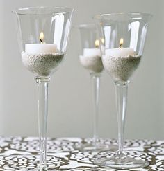 Tea candle holders out of wine glasses