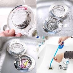 A pair of stainless steel sink strainers that come with a ~bonus~ drain de-clogger. | 21 Awesome Products From Amazon To Put On Your Wish List
