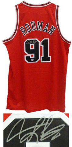 0485b29ca Dennis Rodman Signed Chicago Bulls Red Adidas Swingman Jersey - PSA DNA