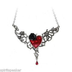 The Blood Rose Heart Pendant Swarovski Crystals Heart Necklace Gothic Victorian in Jewelry & Watches | eBay