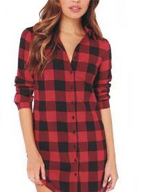 Women 100% Cotton Checks Casual Button Shirt Flannel Shirts Tops Blouse Cardigan #Dunland #ButtonDownShirt #Casual