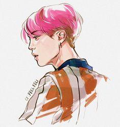 "384 Suka, 6 Komentar - Feli (@feelfeli) di Instagram: ""Pink again? #jimin #btsart #btsfanart #sketch"""