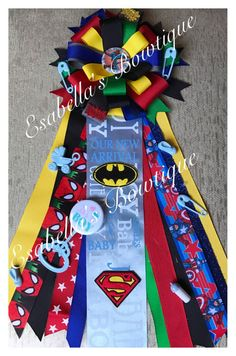 Super heroes corsage;baby shower corsage;baby shower;mom to be;Dad to be;baby corsage by EsabellasBowtique on Etsy