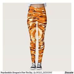Psychedelic Dragon's Fire Tie Dye Leggings by BOLO Designs. Ariel Winter fashion style.
