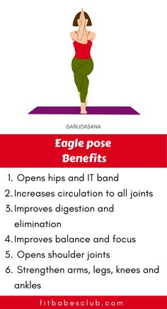 "Garudasana or Eagle Pose is a standing balancing asana in modern yoga as exercise. It's a beginner pose. If you are a beginner at yoga, click the ""visit"" button below to see yoga workouts for beginners. Yoga Moves, Yoga Workouts, Easy Workouts, Eagle Pose Yoga, Yoga Information, Yoga Detox, Yoga Anatomy, Daily Yoga, Morning Yoga"
