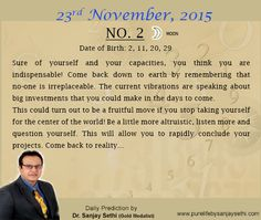 #Numerology‬ predictions for 23rd November'15 by Dr.Sanjay Sethi-Gold Medalist and World's No.1 #AstroNumerologist.
