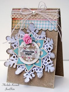 I can totally cut out snowflakes, but I never thought about using them on a card!