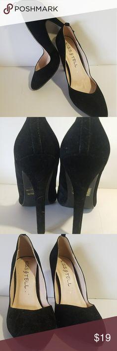 "Black Suede 4.5"" High Heels Kiss & Tell Sz 6 NWOT KISS & TELL - Black - Suede - 4.5"" High Heels - Size 6 - NWOT Item#01-10S Kiss & Tell Shoes Heels"