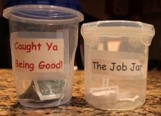 Job Jar.    Caught you being good Jar.  Keys to a peaceful summer. Wish I had the idea for the job jar this summer...tired of hearing I'm bored.