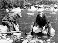 Two Men with Gold Pans in River, Cariboo. #5