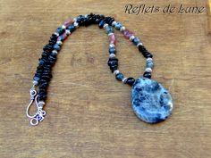 * Terre de nuit * Collier pierres larvikite tourmaline noire et rose