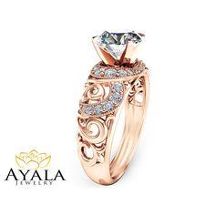 14K Rose Gold Diamond Engagement Ring  Art Deco by AyalaDiamonds