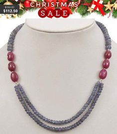 Double Strand Faceted Tanzanite and Ruby Gemstone Beaded Necklace -Free Earrings,Anniversary Gift, Wedding Gift Silver Bead Necklace, Diy Necklace, Necklace Designs, Silver Beads, Necklace Ideas, Necklace Tutorial, Bead Jewellery, Beaded Jewelry, Beaded Necklaces
