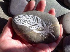 Peace feather series / white zen /painted rock / Sandi Pike Foundas / beach stone from Cape Cod / sea stone
