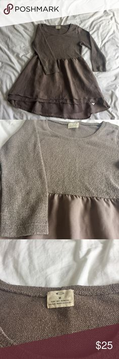 Long sleeve flossy shirt - doll style Earth tone long sleeve doll style shirt. Has a silky bottom portion and a lightly knitted upper portion. Urban Outfitters Tops Tees - Long Sleeve