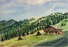 Dolomites Val di Fassa watercolour by artist Giulia Gatti Watercolor And Ink, Watercolor Paintings, Watercolors, Country Roads, Landscape, Gallery, Drawings, Artist, Water Colors