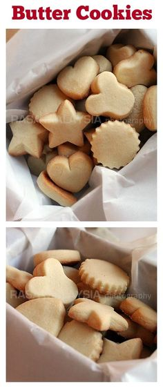 Butter Cookies - the BEST butter cookies recipe ever! These butter cookies are buttery, crumbly, melt in the mouth. Best cookies for Christmas and holidays. Cookie Desserts, Just Desserts, Dessert Recipes, Baking Cookies, Butter Cookies Recipe, Yummy Cookies, Best Butter Cookie Recipe Ever, Easy Butter Biscuit Recipe, Gastronomia