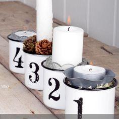 Adventskranz mal anders. Nach Lust und Laune lassen sich diese Kerzenhalter mit Ziffern dekorieren.