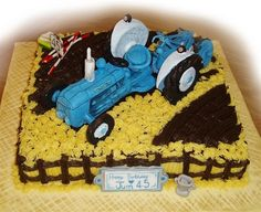 Sugar Paste Tractor Birthday Cake | docrafts.com Tractor Birthday Cakes, Edible Creations, Sugar Paste, Edible Art, Tractors, Desserts, Food, Tailgate Desserts, Deserts