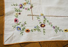 French Vintage Hand Embroidered Small Square Tablecloth Floral