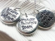 AA Milne Quote Necklace - Braver Than You Believe - Personalized - Hand Stamped Inspirational Jewelry - Motivational Necklace - Graduation on Etsy, $57.00