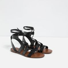 Image 4 of LACE-UP FLAT SANDALS from Zara Sandales Plates, Chaussures Femme, 5d0a1a3e4b7c