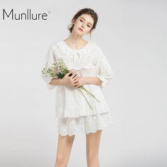 Hot Offer Munllure New 100% cotton comfortable soft short pajamas women Fashion temperament Round neck flowers pajamas set hot sale .....More Detail Please Click Link