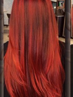 Reds are amazing on fair skin ladies! This color was most likely to have been done on a natural level 5 with previous highlights. That's why you can see dimension in this color. Reds are the fastest to fade and the hardest to completely get out of the hair.  Joico color formula:  6FR! 7FRO, and 6RC Fall Red Hair, Joico Color, Hair Color Formulas, Hair Color Techniques, Different Hair Colors, Color Me Beautiful, Level 5, Hair Color And Cut, Hair Colours