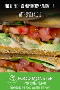 High-Protein Mushroom Sandwich With Spicy Aioli! Vegan Recipes Videos, Healthy Recipe Videos, Vegetarian Recipes Easy, Super Healthy Recipes, Healthy Dinner Recipes, Vegan Meals, Lunch Recipes, Easy Recipes, Soup Recipes