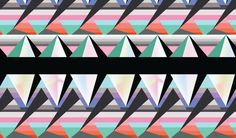 A geometric print by Lisa Stannard. Love the way the colours and inerlocking shapes soften this pattern.