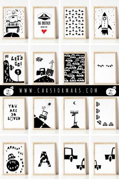 Black and white nursery prints for boys. Car Wall Art, Art Wall Kids, Art For Kids, Nursery Prints, Nursery Wall Art, Nursery Decor, Scandinavian Nursery, Scandinavian Style, Baby Boy Rooms