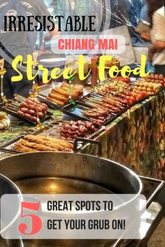 Thailand Travel: What to eat in Chiang Mai. A guide to some of the best places to eat street food on your visit. Must try authentic Thai food on the streets of Chiang Mai. Don't leave Thailand without eating this food! See this guide for details https://togethertowherever.com/best-street-food-chiang-mai/
