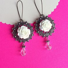 $10.00.  WHITE ROSE EARRINGS on French wires.    Love these.,,I Want a pair