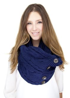 NAVY KNIT BUTTON knit scarf  infinity scarf with by gertiebaxter, $44.50