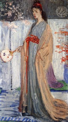 The Princess from the Land of Porcelain - James McNeill Whistler. First version in the final version he eliminated the flowers in the upper left hand corner.