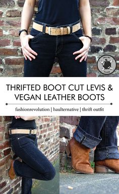 My favourite spring outfit for fashionrevolution - thrifted boot cut jeans and vegan leather boots by Fritzi aus Preußen. fashionrevolution