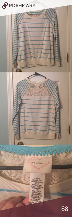 Blue and White Stripes Sweatshirt with Lace Detail Blue and white striped sweatshirt with lace detail on the back. Super comfy Self Esteem Tops Sweatshirts & Hoodies