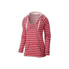 Columbia Womens PFG Tropic Haven Stripe Hoodie ($65) ❤ liked on Polyvore featuring tops, hoodies, ruby red, red hoodie, striped top, columbia hoodies, stripe hoodie and red stripe top