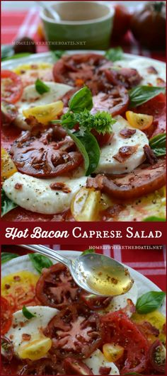 Hot Bacon Caprese Salad, the only way to improve the classic Caprese Salad, with hot bacon dressing!