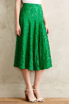 Grass-Lace Midi Skirt - anthropologie.com love the lace, wish it was in a different color…a little too green for me