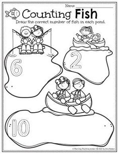 Count the Number of Fish in the ponds. - Pre-k Camping Worksheets