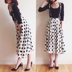 Polka dot skirt with suspender straps