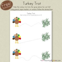Free Download! Help the turkey trot into the safety of the tall grass, can draw or cut on the lines. Enjoy!