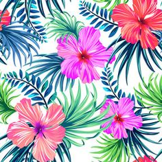 seamless tropical floral pattern. hibiscus and palm leaves on white background. classical aloha motifs in a juicy colorful pattern design.