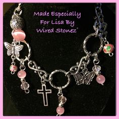 A Swarovski pink Crystal, & pink glass bead charm bracelet made to order. I love it!