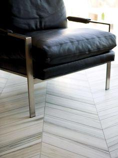 Chevron Marble Tile Floors | HGTVRemodels.com