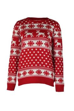 Classic! - Red & White Snowflake Raindeer Christmas Jumper