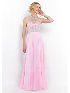 A-Line Halter Beaded Chiffon Floor-Length Open Back Dress