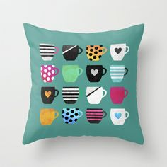 Coffee cup collection / 2 Throw Pillow by Elisabeth Fredriksson - $20.00