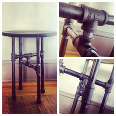 Industrial table black steel pipe stained wood top by instamatix